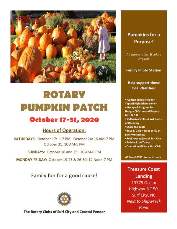 Pumpkin Patch Surf City Rotary NC